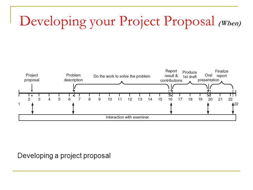 Developing your Project Proposal (When) Developing a project proposal