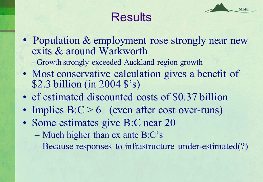 Results Population & employment rose strongly near new exits & around Warkworth - Growth strongly exceeded Auckland region growth Most conservative calculation gives a benefit of $2.3 billion (in 2004 $'s) cf estimated discounted costs of $0.37 billion Implies B:C > 6 (even after cost over-runs) Some estimates give B:C near 20 –Much higher than ex ante B:C's –Because responses to infrastructure under-estimated( )
