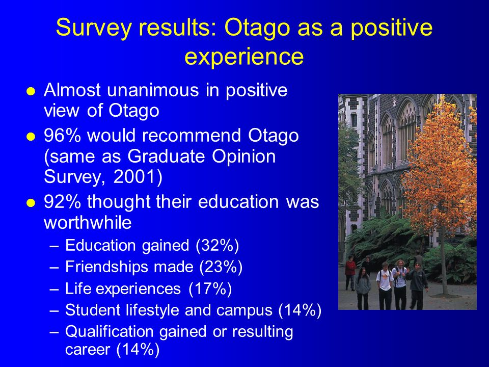Survey results: Otago as a positive experience l Almost unanimous in positive view of Otago l 96% would recommend Otago (same as Graduate Opinion Surv
