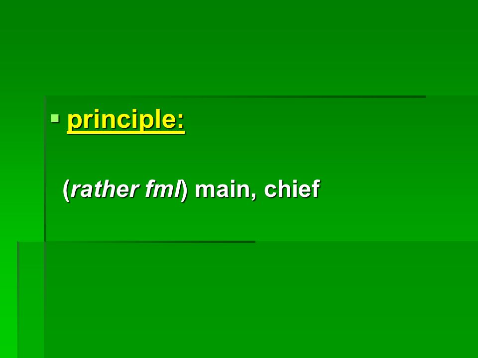  principle: (rather fml) main, chief (rather fml) main, chief