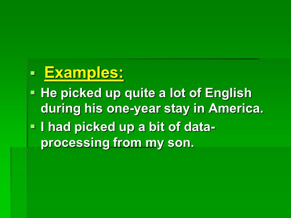  Examples:  He picked up quite a lot of English during his one-year stay in America.