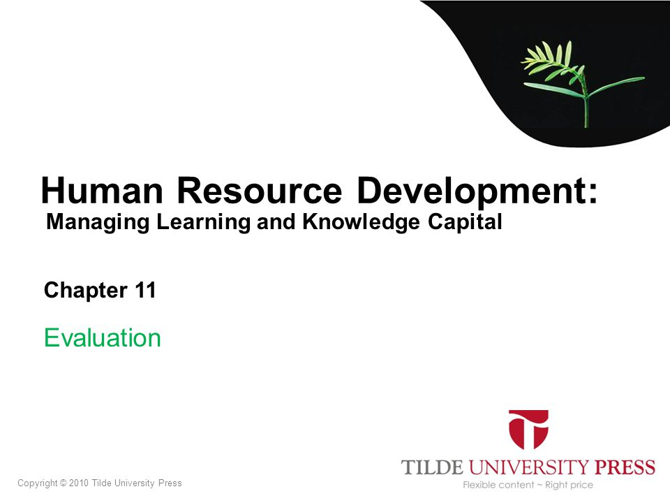 Managing Learning and Knowledge Capital Human Resource Development: Chapter 11 Evaluation Copyright © 2010 Tilde University Press