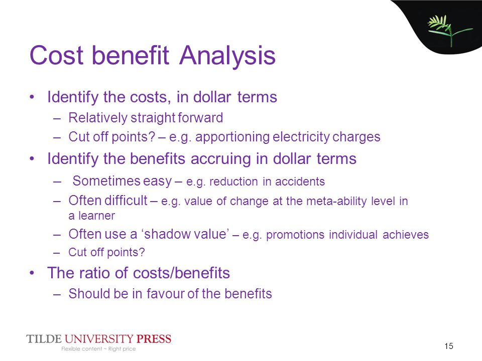 Cost benefit Analysis Identify the costs, in dollar terms –Relatively straight forward –Cut off points? – e.g. apportioning electricity charges Identi