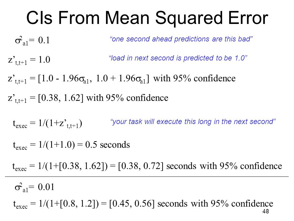 48 CIs From Mean Squared Error z' t,t+1 = 1.0   a1 = 0.1 load in next second is predicted to be 1.0 z' t,t+1 = [1.0 - 1.96  a1, 1.0 + 1.96  a1 ] with 95% confidence z' t,t+1 = [0.38, 1.62] with 95% confidence t exec = 1/(1+z' t,t+1 ) your task will execute this long in the next second one second ahead predictions are this bad t exec = 1/(1+1.0) = 0.5 seconds t exec = 1/(1+[0.38, 1.62]) = [0.38, 0.72] seconds with 95% confidence   a1 = 0.01 t exec = 1/(1+[0.8, 1.2]) = [0.45, 0.56] seconds with 95% confidence