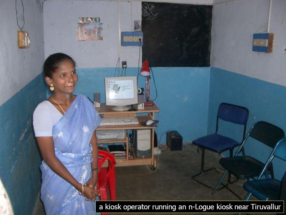 a kiosk operator running an n-Logue kiosk near Tiruvallur