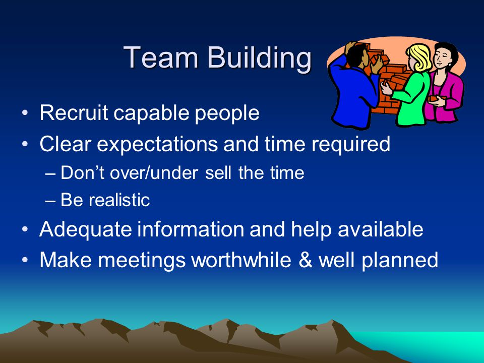 Team Building Become prepared and knowledgeable Provide training in the job –Use the www.NARFEWA.net web sitewww.NARFEWA.net Plan for the unexpected Form & use committees and task forces