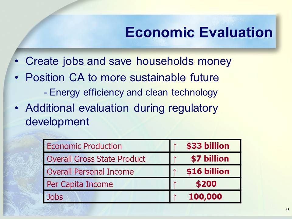 9 Economic Evaluation Create jobs and save households money Position CA to more sustainable future - Energy efficiency and clean technology Additional evaluation during regulatory development Economic Production ↑ $33 billion Overall Gross State Product ↑ $7 billion Overall Personal Income ↑ $16 billion Per Capita Income ↑ $200 Jobs ↑ 100,000