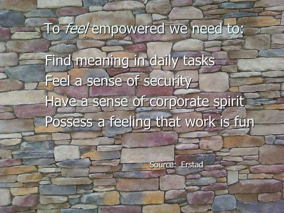 To feel empowered we need to: Find meaning in daily tasks Find meaning in daily tasks Feel a sense of security Feel a sense of security Have a sense of corporate spirit Have a sense of corporate spirit Possess a feeling that work is fun Possess a feeling that work is fun Source: Erstad