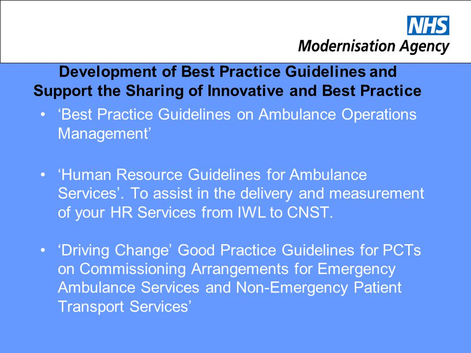 Development of Best Practice Guidelines and Support the Sharing of Innovative and Best Practice 'Best Practice Guidelines on Ambulance Operations Mana