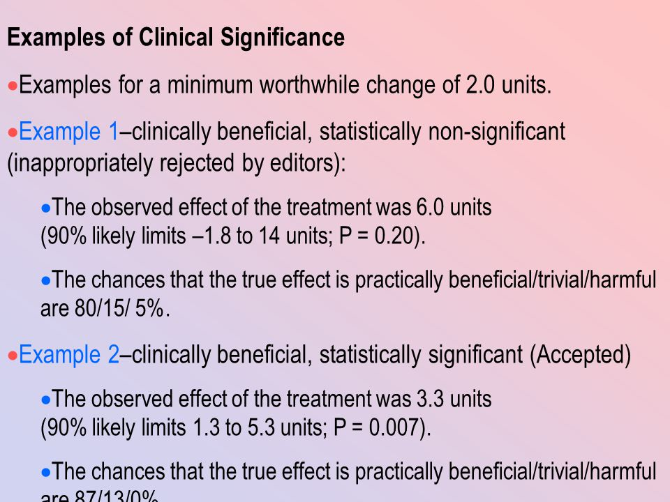 Examples of Clinical Significance  Examples for a minimum worthwhile change of 2.0 units.