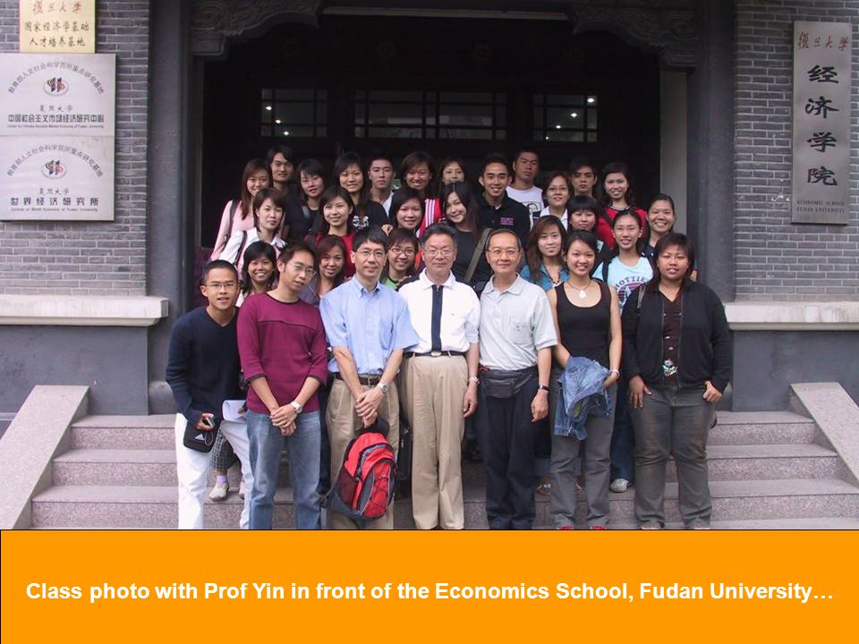 Class photo with Prof Yin in front of the Economics School, Fudan University…
