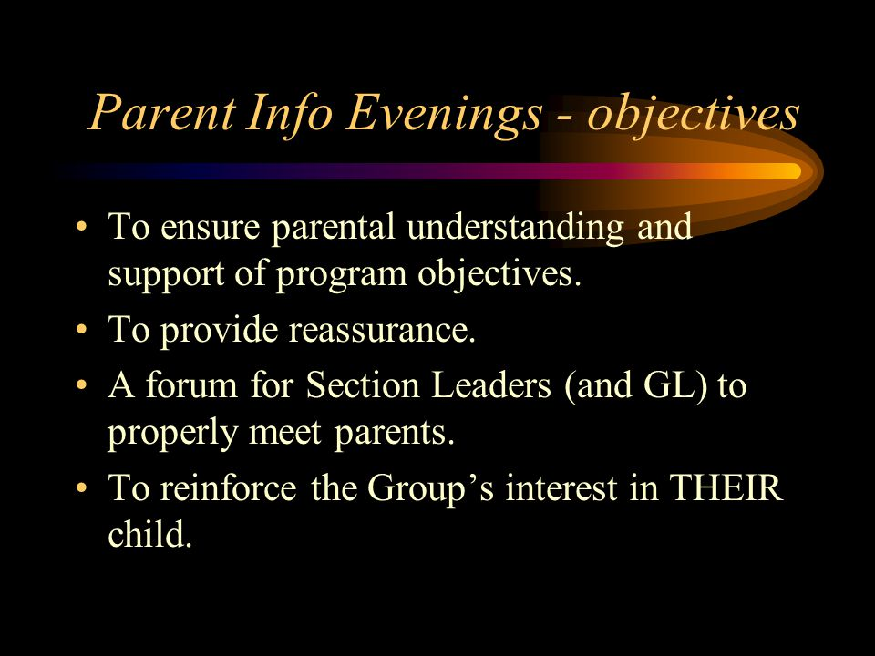 Parent Information Evening Immediately following each Advancement Ceremony.