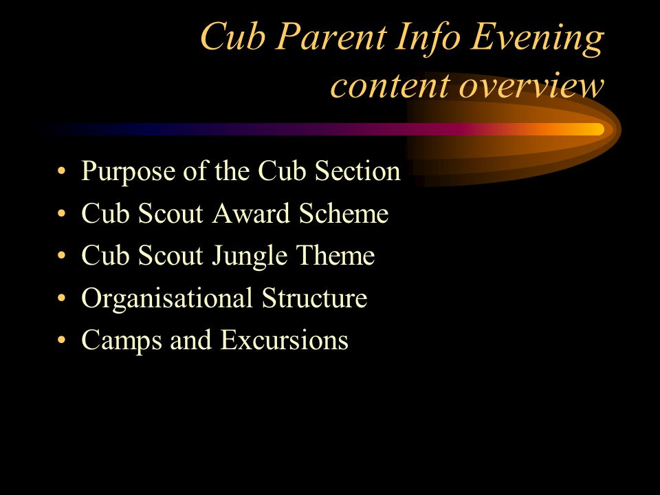 Parent Info Evenings - objectives To ensure parental understanding and support of program objectives.