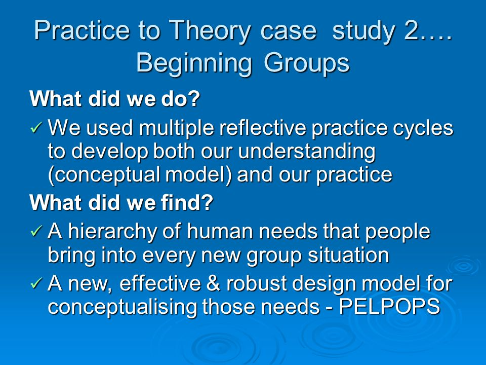 Practice to Theory case study 2…. Beginning Groups What did we do.