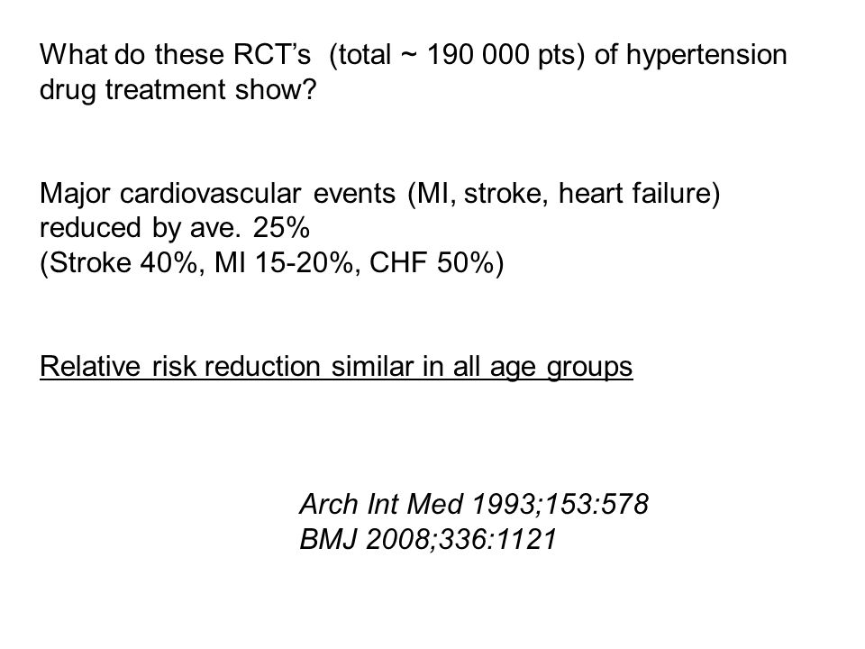 What do these RCT's (total ~ 190 000 pts) of hypertension drug treatment show.