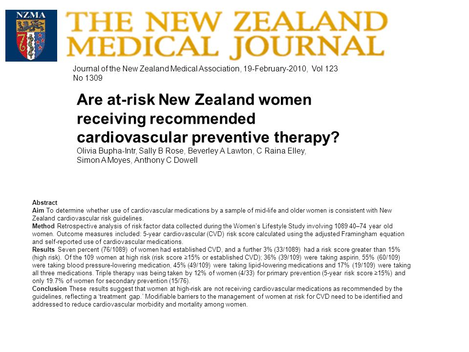 Abstract Aim To determine whether use of cardiovascular medications by a sample of mid-life and older women is consistent with New Zealand cardiovascular risk guidelines.