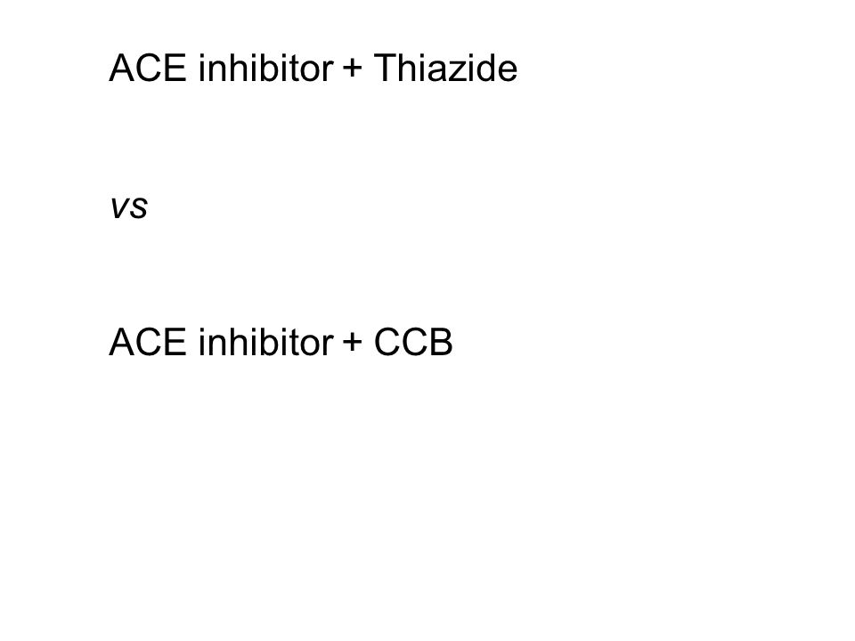 ACE inhibitor + Thiazide vs ACE inhibitor + CCB
