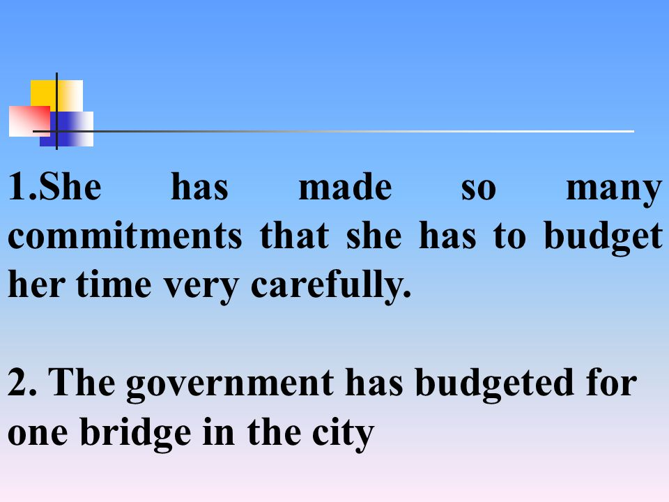 1.She has made so many commitments that she has to budget her time very carefully.