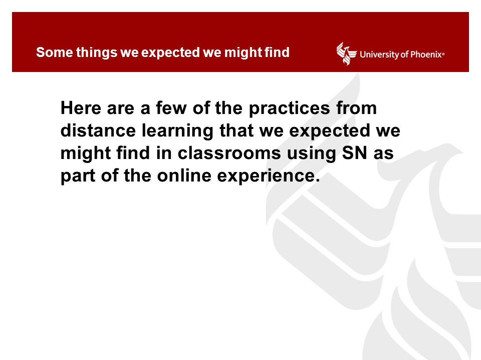 Some things we expected we might find Here are a few of the practices from distance learning that we expected we might find in classrooms using SN as part of the online experience.