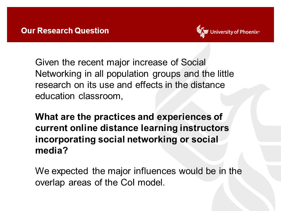 Our Research Question Given the recent major increase of Social Networking in all population groups and the little research on its use and effects in