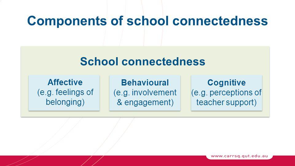 Components of school connectedness School connectedness Affective (e.g.