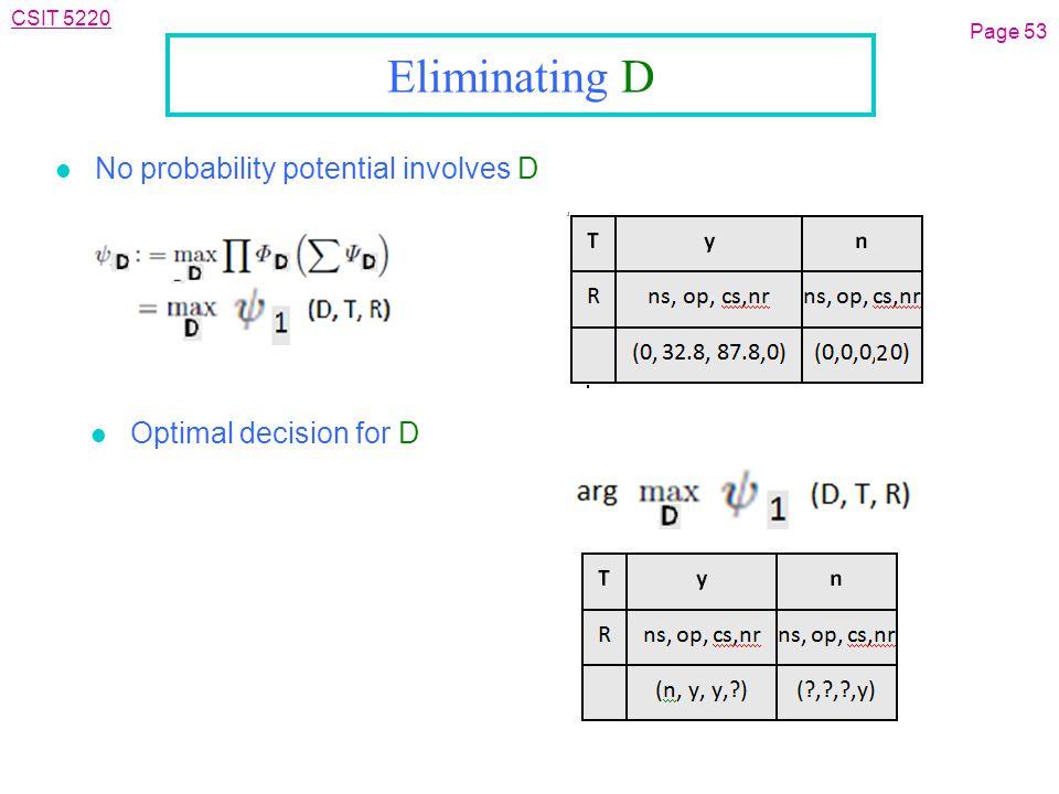 CSIT 5220 Eliminating D l No probability potential involves D Page 53 l Optimal decision for D