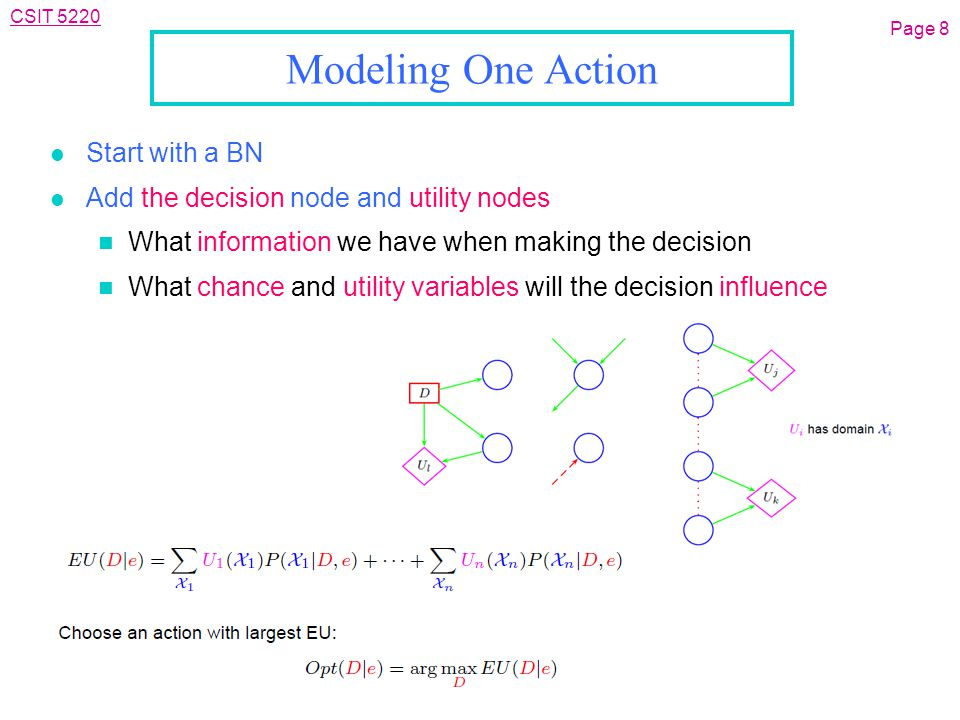 CSIT 5220 Modeling One Action l Start with a BN l Add the decision node and utility nodes n What information we have when making the decision n What chance and utility variables will the decision influence Page 8
