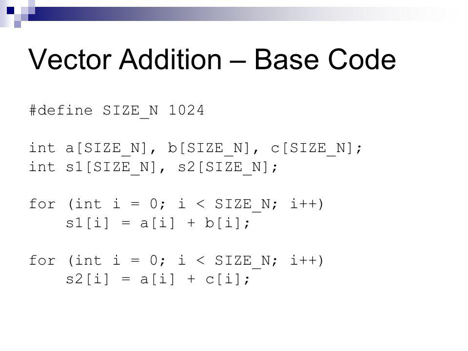 Vector Addition – Base Code #define SIZE_N 1024 int a[SIZE_N], b[SIZE_N], c[SIZE_N]; int s1[SIZE_N], s2[SIZE_N]; for (int i = 0; i < SIZE_N; i++) s1[i] = a[i] + b[i]; for (int i = 0; i < SIZE_N; i++) s2[i] = a[i] + c[i];