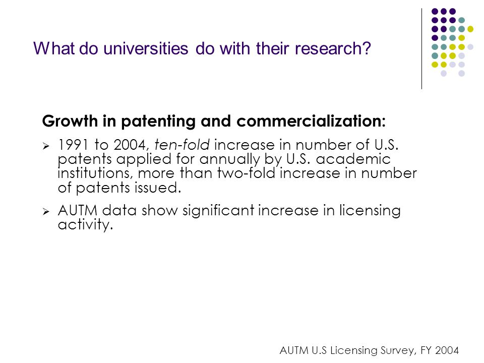 What do universities do with their research.