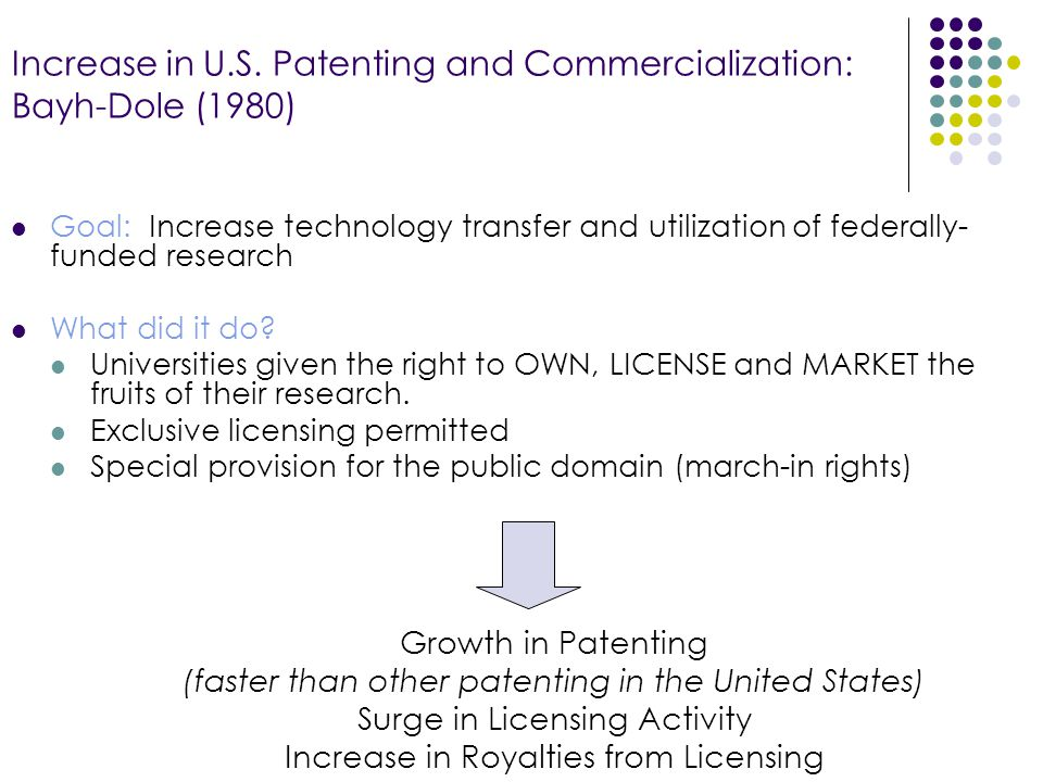 Increase in U.S. Patenting and Commercialization: Bayh-Dole (1980) Goal: Increase technology transfer and utilization of federally- funded research Wh