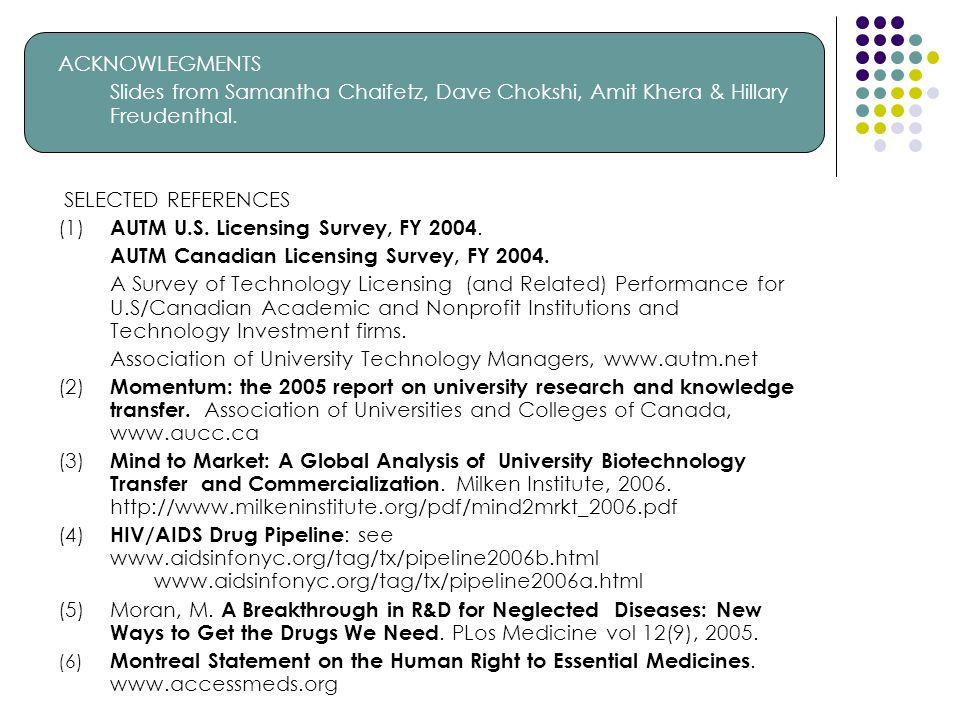 ACKNOWLEGMENTS Slides from Samantha Chaifetz, Dave Chokshi, Amit Khera & Hillary Freudenthal. SELECTED REFERENCES (1) AUTM U.S. Licensing Survey, FY 2