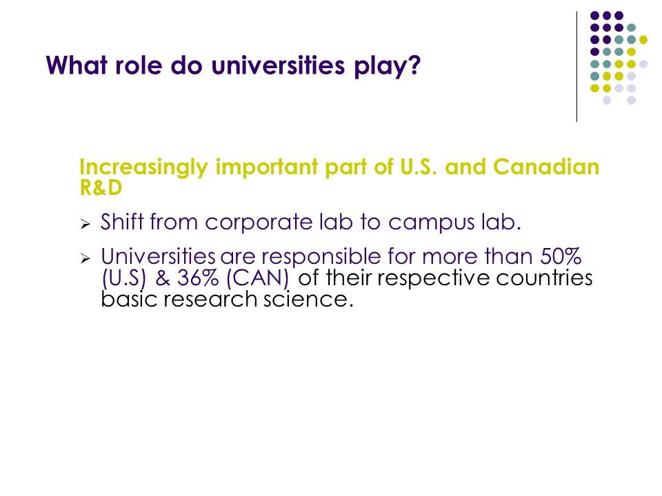 What role do universities play. Increasingly important part of U.S.