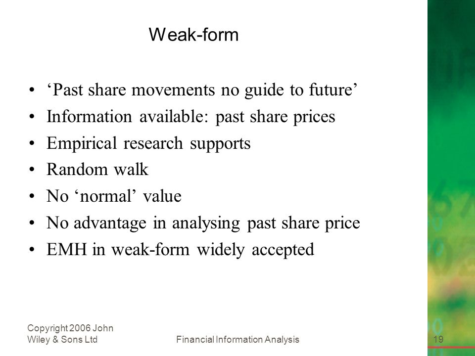 Financial Information Analysis19 Copyright 2006 John Wiley & Sons Ltd Weak-form 'Past share movements no guide to future' Information available: past share prices Empirical research supports Random walk No 'normal' value No advantage in analysing past share price EMH in weak-form widely accepted