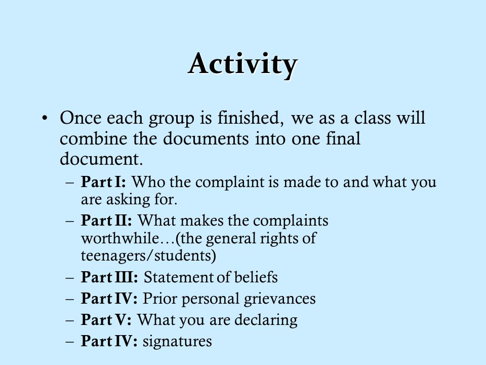 Activity Again as pairs, read the second half of the Declaration of Independence.Again as pairs, read the second half of the Declaration of Independence.