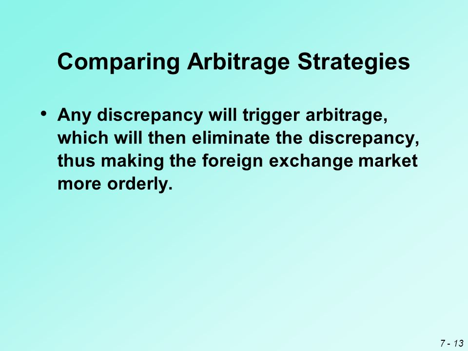 7 - 13 Comparing Arbitrage Strategies Any discrepancy will trigger arbitrage, which will then eliminate the discrepancy, thus making the foreign excha