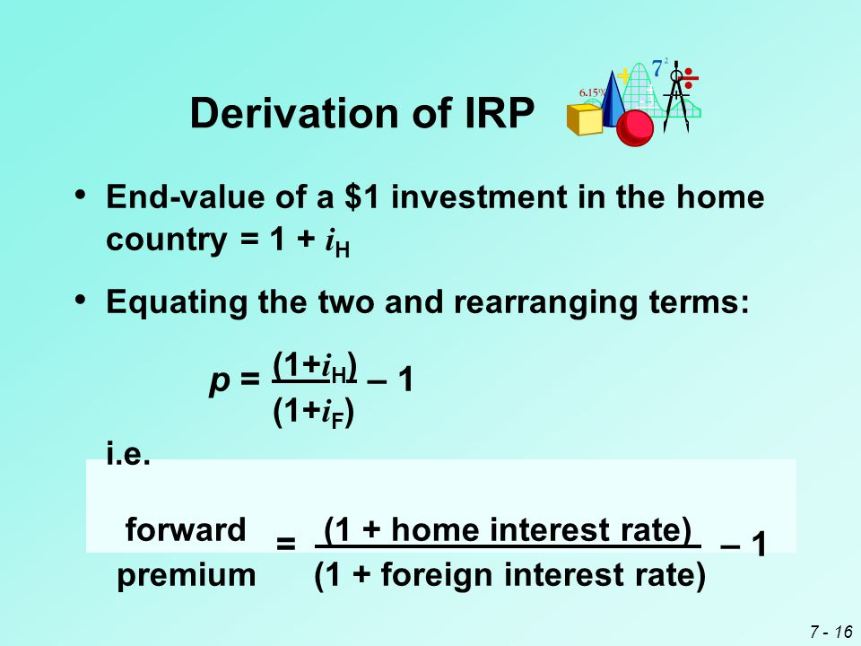 7 - 16 End-value of a $1 investment in the home country= 1 + i H Equating the two and rearranging terms: p= (1+ i H ) – 1 (1+ i F ) i.e. forward = (1