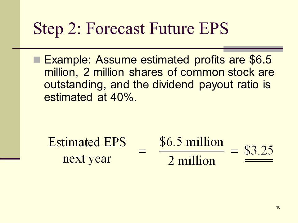 10 Step 2: Forecast Future EPS Example: Assume estimated profits are $6.5 million, 2 million shares of common stock are outstanding, and the dividend