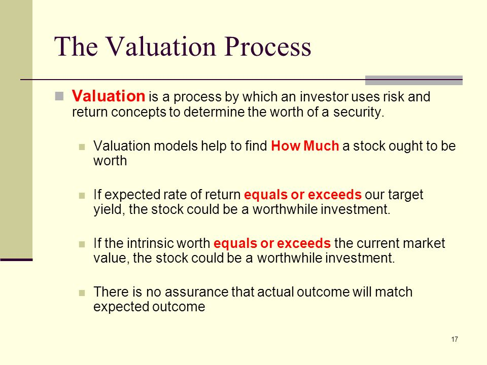 17 The Valuation Process Valuation is a process by which an investor uses risk and return concepts to determine the worth of a security. Valuation mod