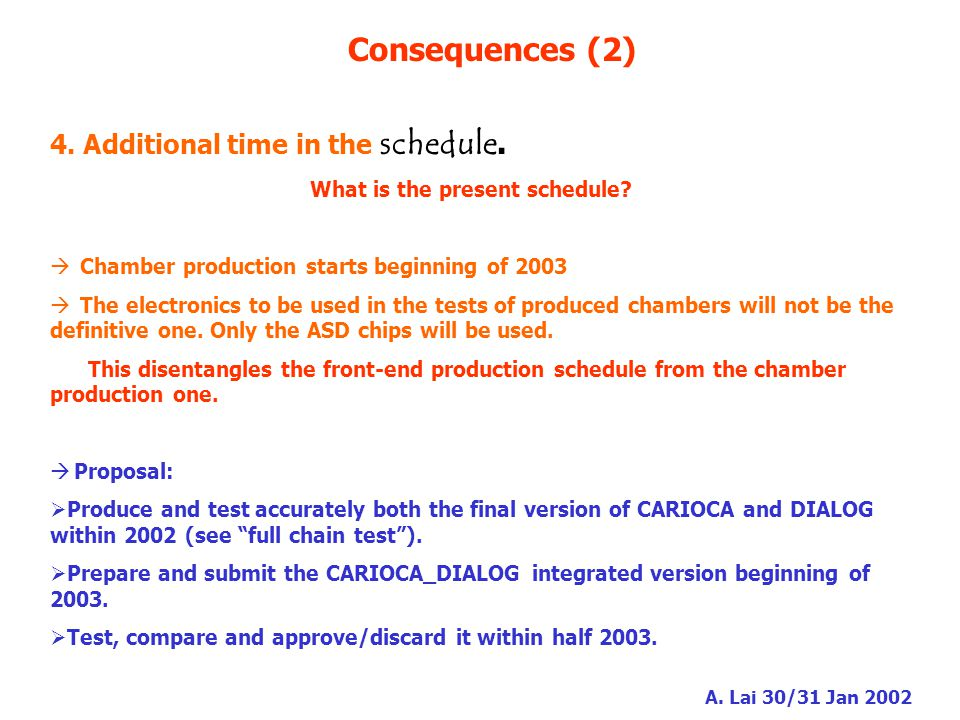 A. Lai 30/31 Jan 2002 Consequences (2) 4. Additional time in the schedule.