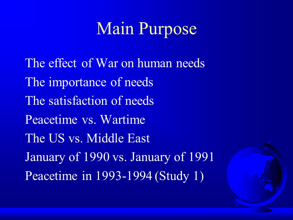 Tang & West (1997) The Importance of Human Needs During Peacetime, Retrospective Peacetime, and the Persian Gulf War International Journal of Stress Management, 4 (1), 47-62.