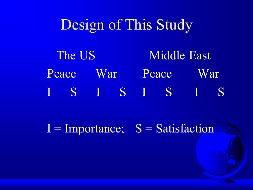 Main Purpose The effect of War on human needs The importance of needs The satisfaction of needs Peacetime vs.