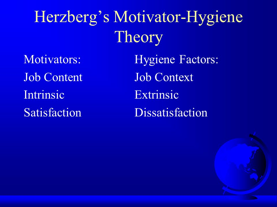 Herzberg's Motivator-Hygiene Theory Motivators:Hygiene Factors: AchievementCo.
