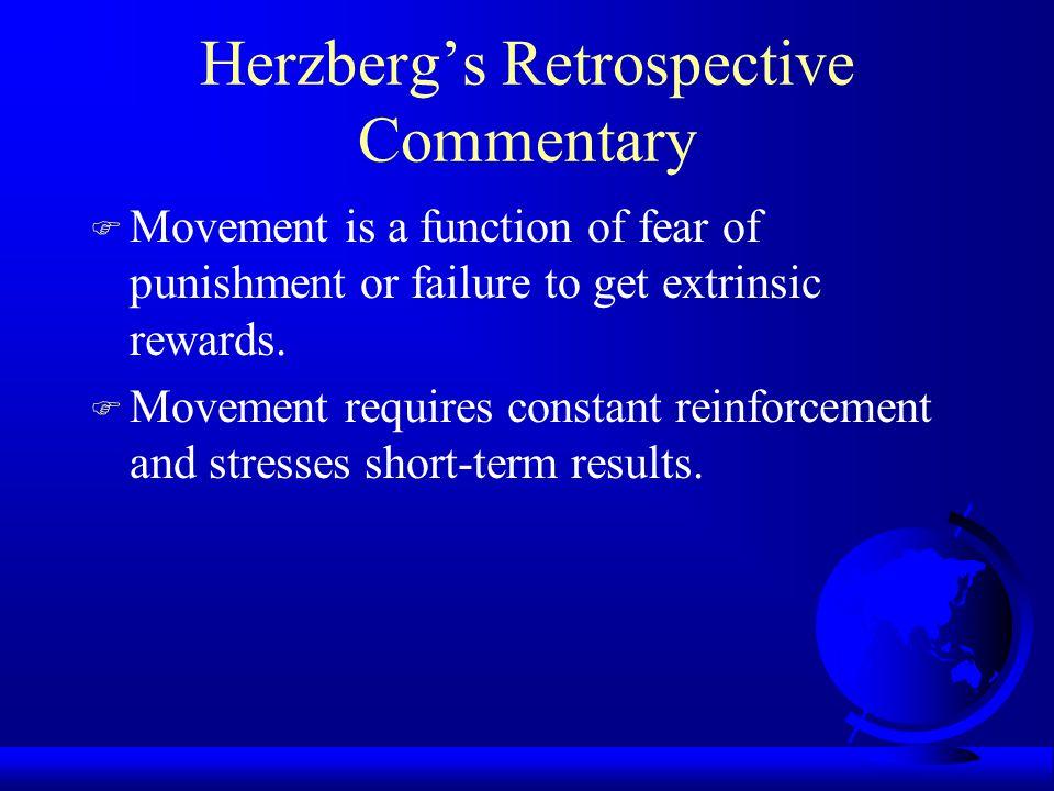 Herzberg's Hygiene Factor-- Money Money is a Hygiene Factor Movement vs.