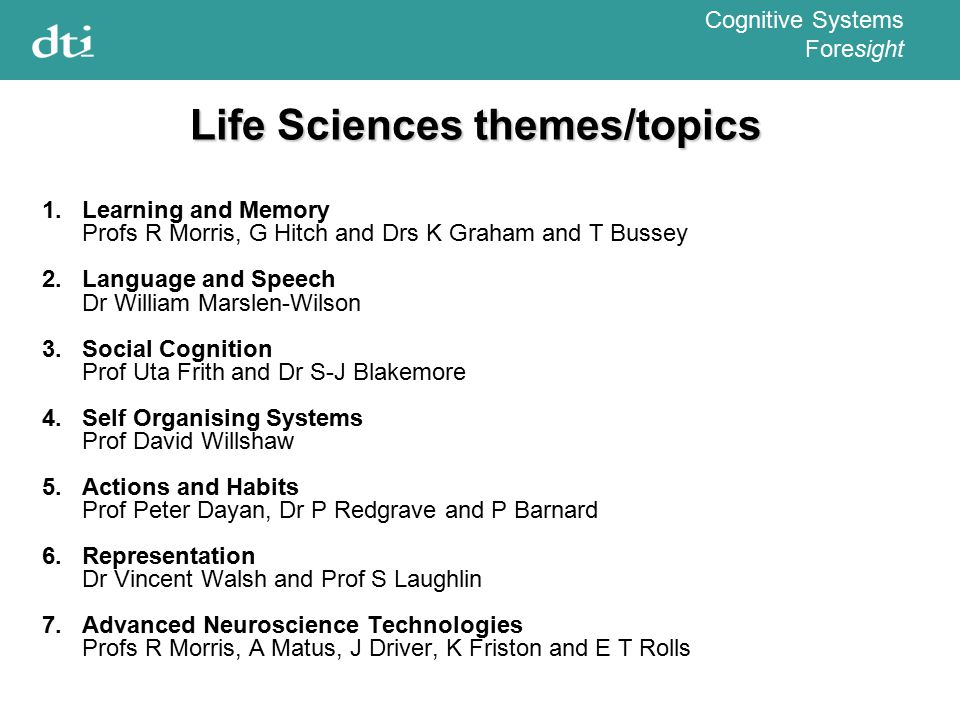Cognitive Systems Foresight Life Sciences themes/topics 1.Learning and Memory Profs R Morris, G Hitch and Drs K Graham and T Bussey 2.Language and Speech Dr William Marslen-Wilson 3.Social Cognition Prof Uta Frith and Dr S-J Blakemore 4.Self Organising Systems Prof David Willshaw 5.Actions and Habits Prof Peter Dayan, Dr P Redgrave and P Barnard 6.Representation Dr Vincent Walsh and Prof S Laughlin 7.Advanced Neuroscience Technologies Profs R Morris, A Matus, J Driver, K Friston and E T Rolls