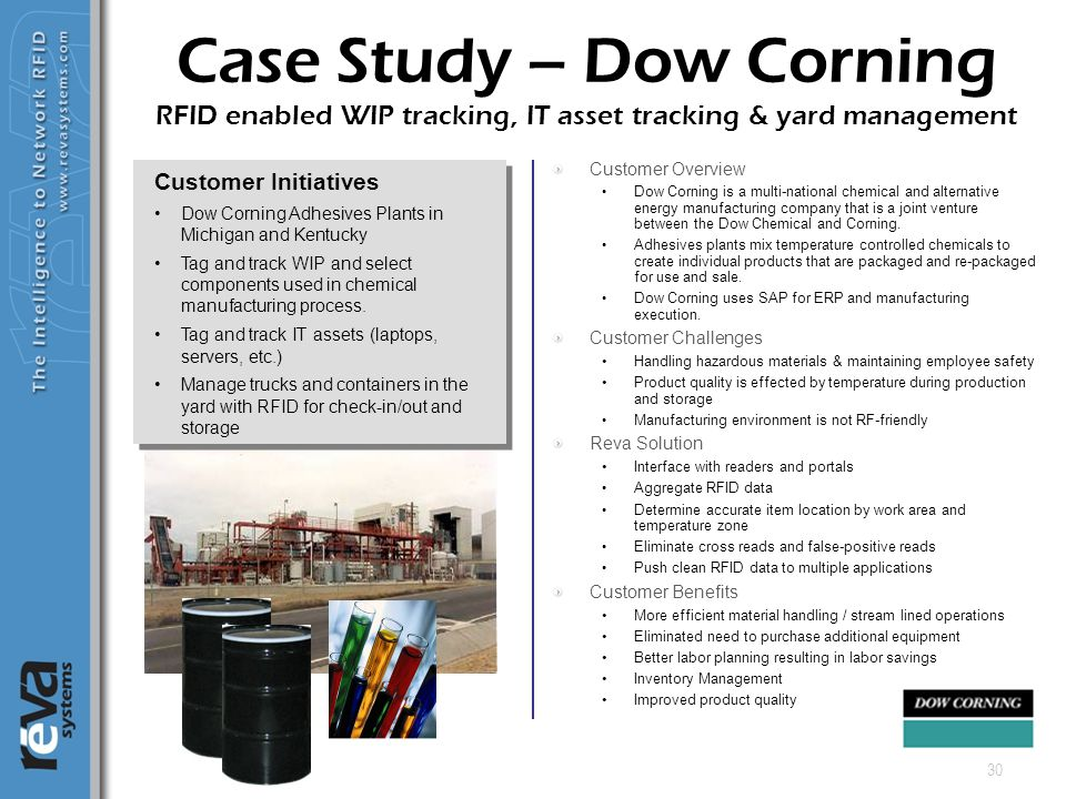 30 Customer Overview Dow Corning is a multi-national chemical and alternative energy manufacturing company that is a joint venture between the Dow Che