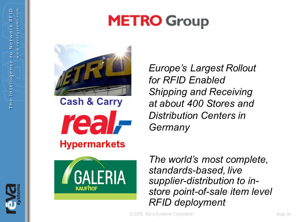 © 2008, Reva Systems Corporation Slide 34 Europe's Largest Rollout for RFID Enabled Shipping and Receiving at about 400 Stores and Distribution Center