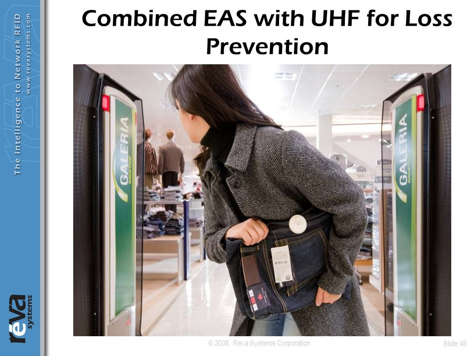 © 2008, Reva Systems Corporation Slide 45 Combined EAS with UHF for Loss Prevention