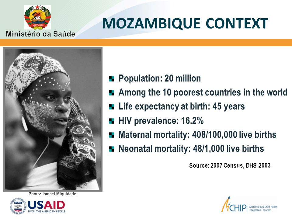 MOZAMBIQUE CONTEXT Population: 20 million Among the 10 poorest countries in the world Life expectancy at birth: 45 years HIV prevalence: 16.2% Maternal mortality: 408/100,000 live births Neonatal mortality: 48/1,000 live births Source: 2007 Census, DHS 2003 Photo: Ismael Miquidade
