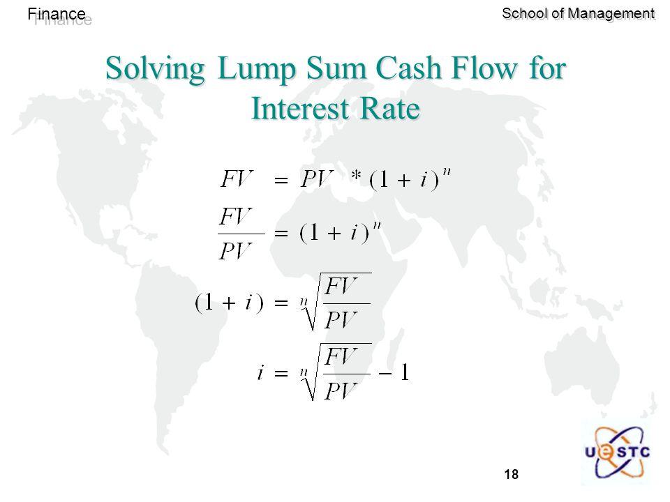 18 Finance School of Management Solving Lump Sum Cash Flow for Interest Rate