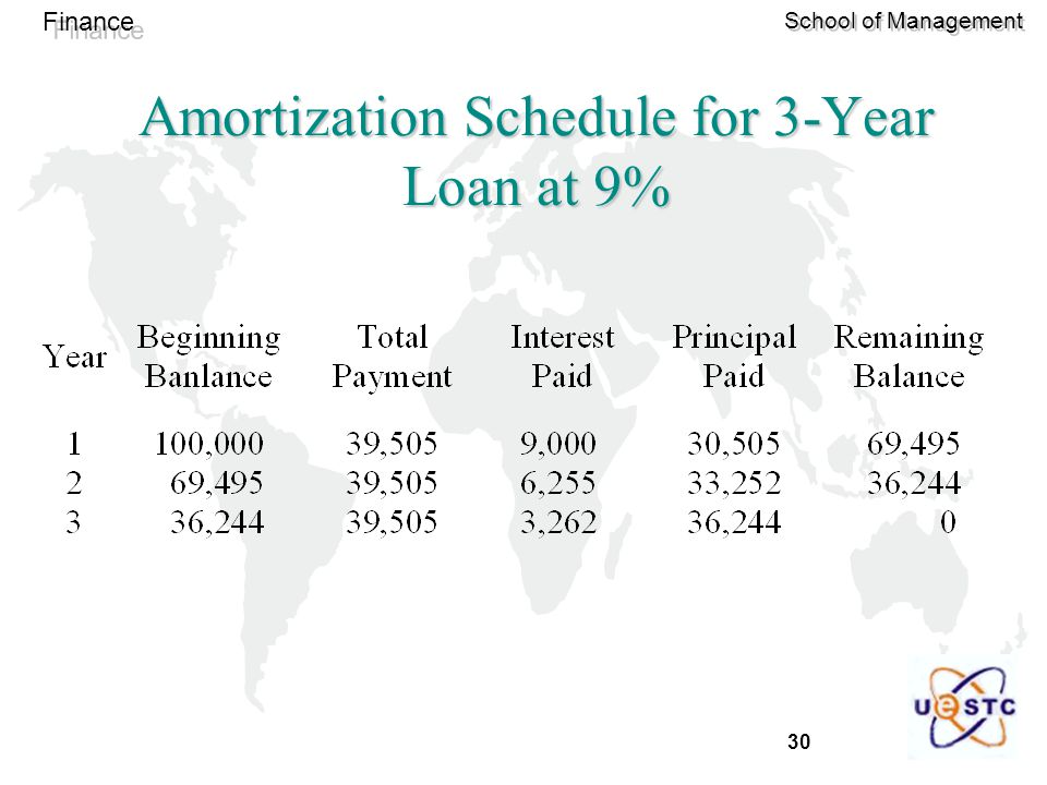 30 Finance School of Management Amortization Schedule for 3-Year Loan at 9%
